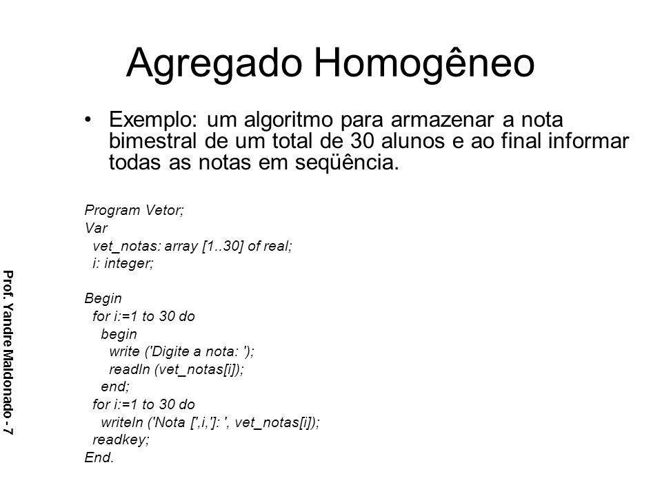 Agregado Homogêneo Exemplo: um algoritmo para armazenar a nota bimestral de um total de 30 alunos e ao final informar todas as notas em seqüência.