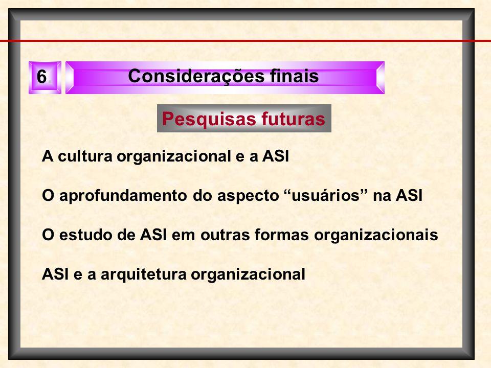 6. Considerações finais Pesquisas futuras