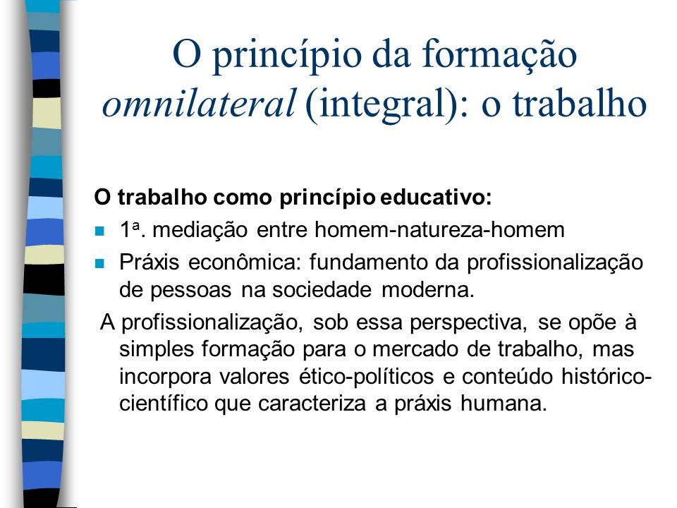 O princípio da formação omnilateral (integral): o trabalho