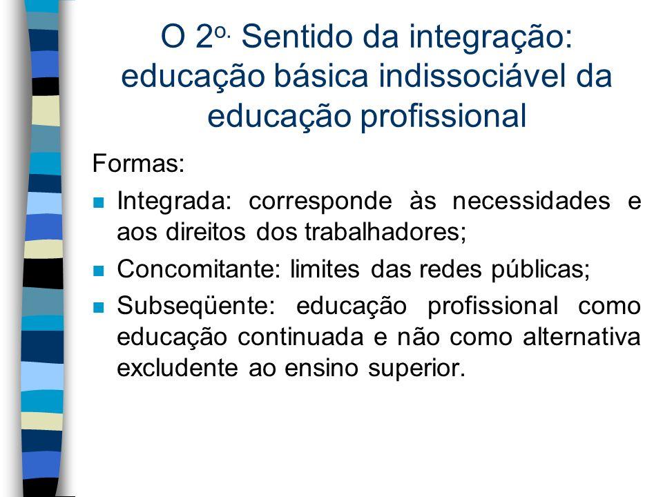 O 2o. Sentido da integração: educação básica indissociável da educação profissional