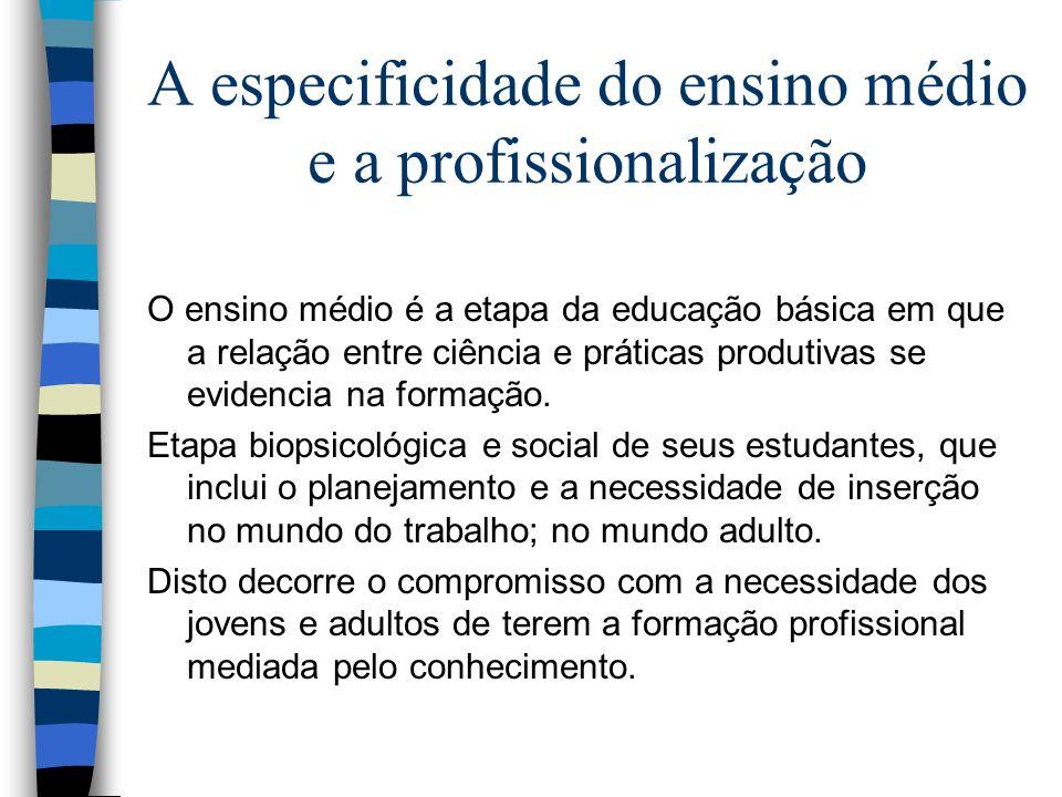 A especificidade do ensino médio e a profissionalização