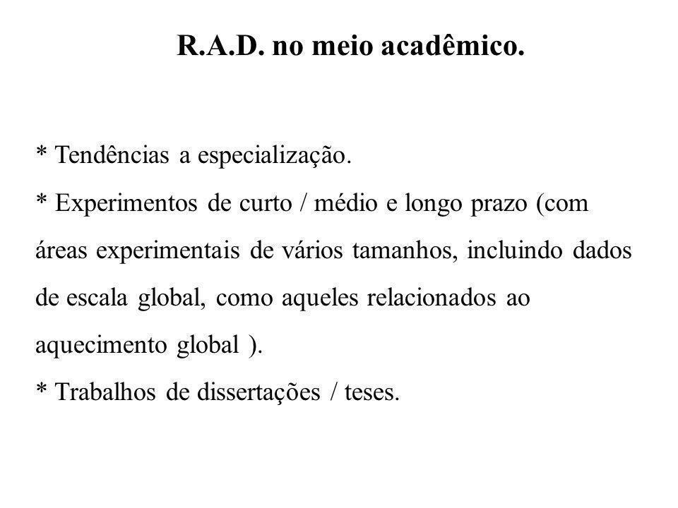 R.A.D. no meio acadêmico. * Tendências a especialização.