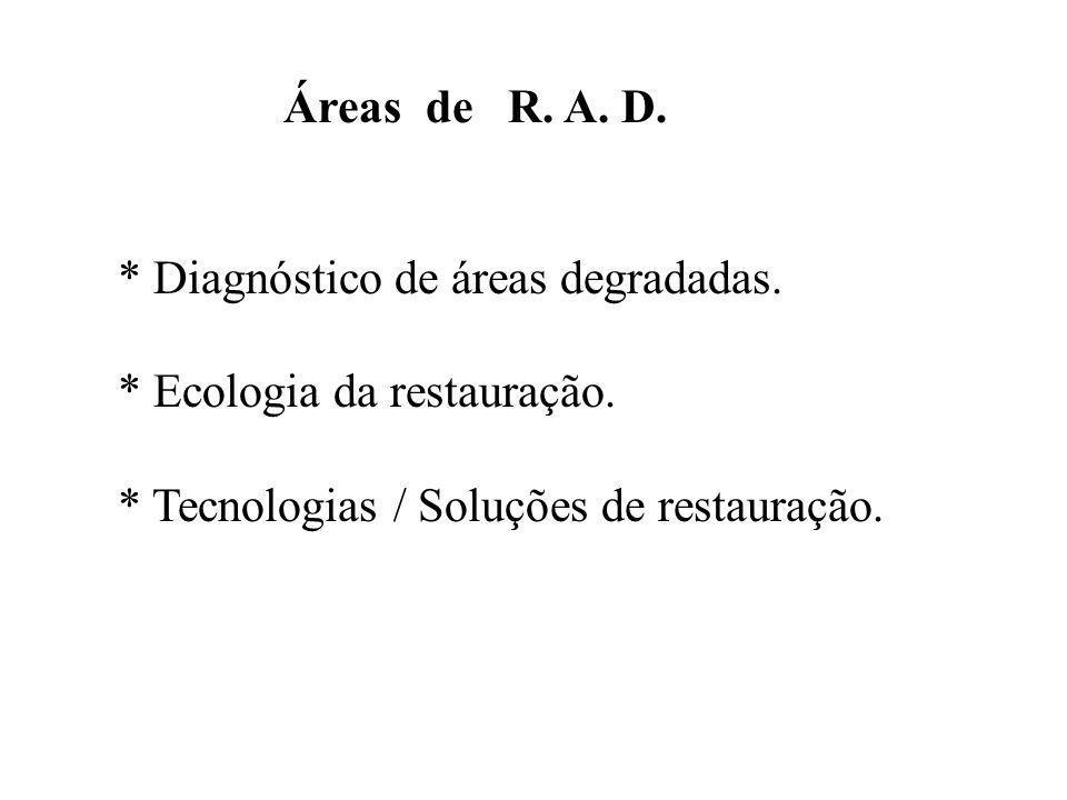 Áreas de R.A. D.* Diagnóstico de áreas degradadas.