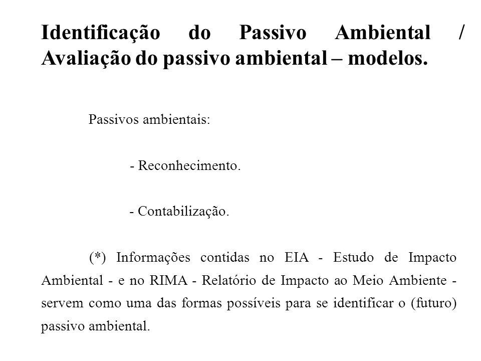Identificação do Passivo Ambiental / Avaliação do passivo ambiental – modelos.