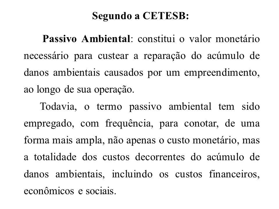 Segundo a CETESB: