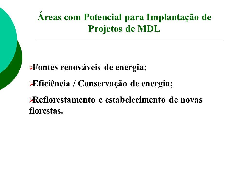 Áreas com Potencial para Implantação de Projetos de MDL