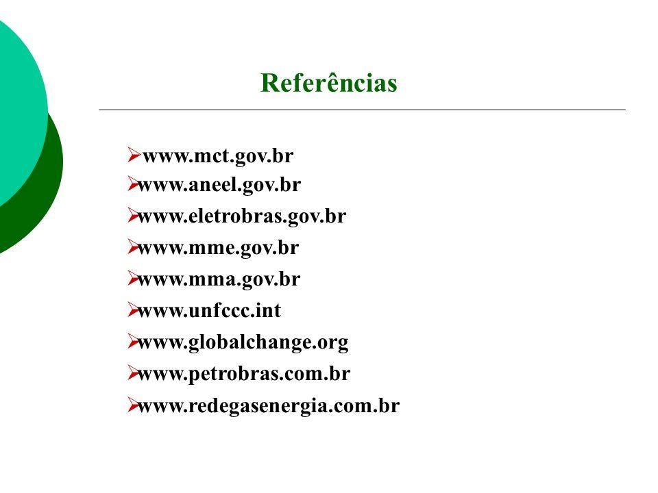 Referências www.mct.gov.br www.aneel.gov.br www.eletrobras.gov.br