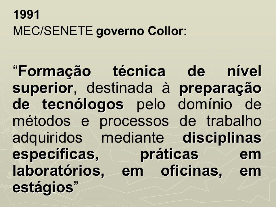 1991 MEC/SENETE governo Collor:
