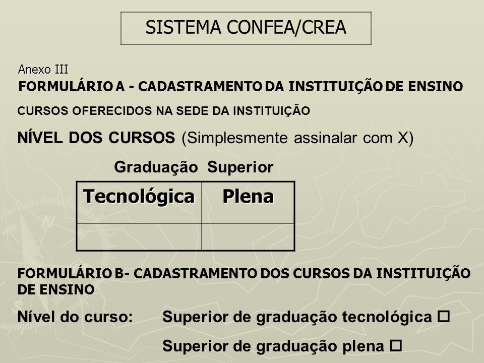 SISTEMA CONFEA/CREA Tecnológica Plena