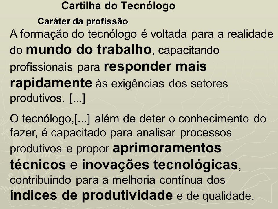 Cartilha do Tecnólogo Caráter da profissão.