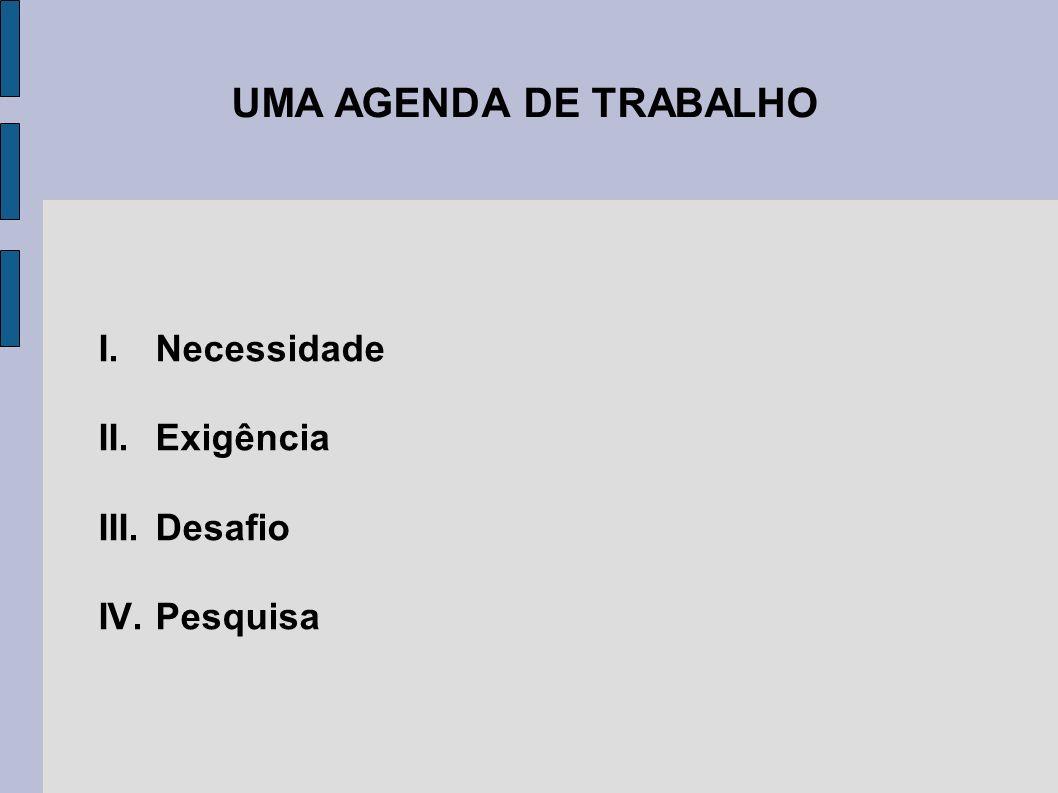UMA AGENDA DE TRABALHO Necessidade Exigência Desafio Pesquisa