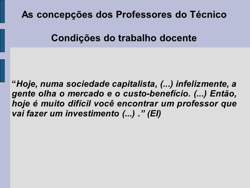As concepções dos Professores do Técnico Condições do trabalho docente