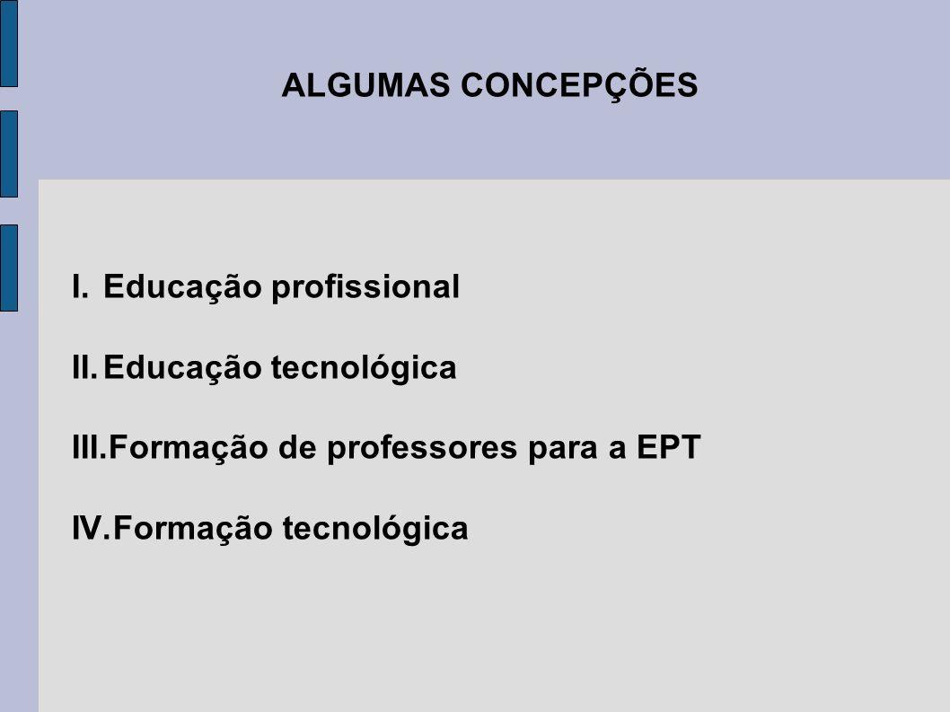 ALGUMAS CONCEPÇÕES Educação profissional. Educação tecnológica. Formação de professores para a EPT.