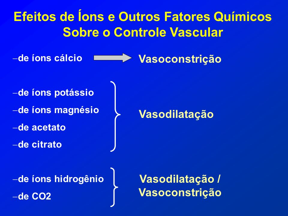 Efeitos de Íons e Outros Fatores Químicos Sobre o Controle Vascular