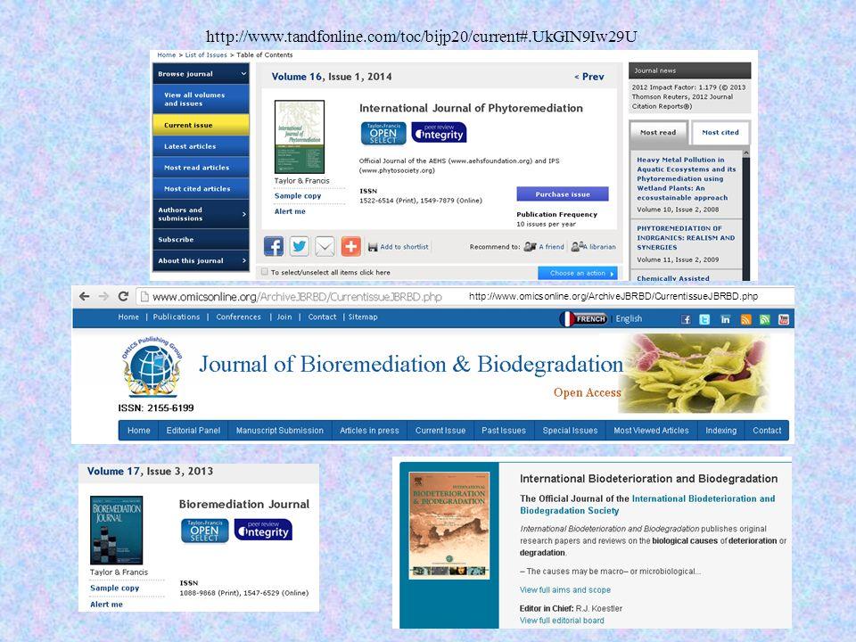http://www.tandfonline.com/toc/bijp20/current#.UkGIN9Iw29U http://www.omicsonline.org/ArchiveJBRBD/CurrentissueJBRBD.php.