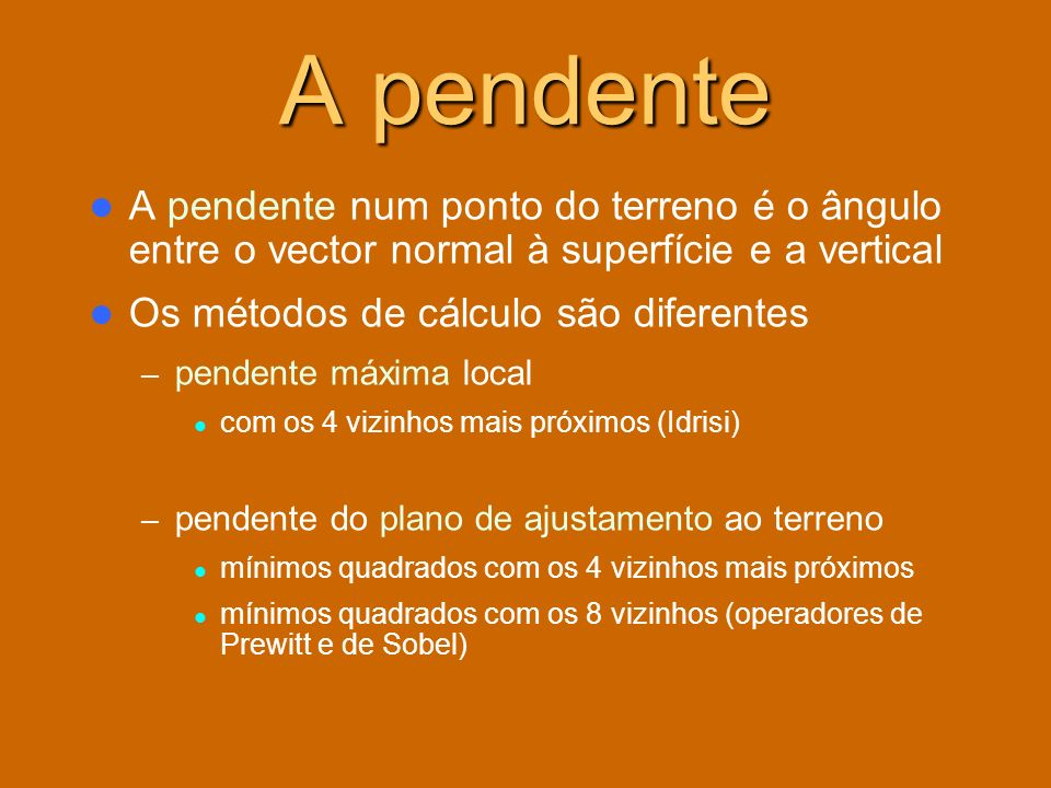 A pendenteA pendente num ponto do terreno é o ângulo entre o vector normal à superfície e a vertical.