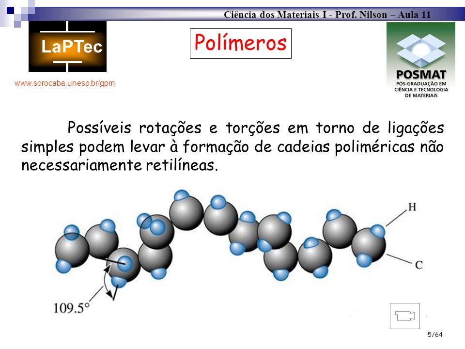 PolímerosPossíveis rotações e torções em torno de ligações simples podem levar à formação de cadeias poliméricas não necessariamente retilíneas.