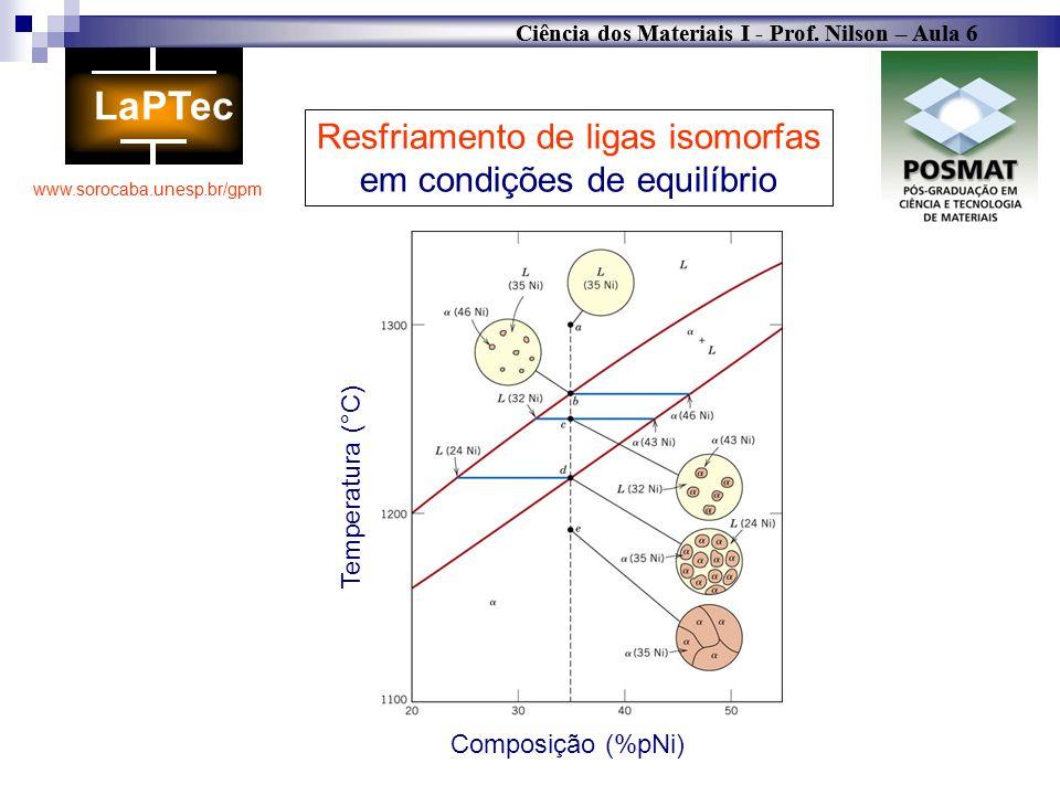 Resfriamento de ligas isomorfas em condições de equilíbrio