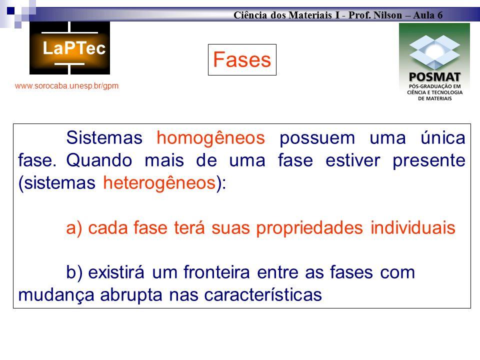 Fases Sistemas homogêneos possuem uma única fase. Quando mais de uma fase estiver presente (sistemas heterogêneos):