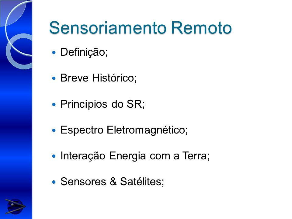Sensoriamento Remoto Definição; Breve Histórico; Princípios do SR;