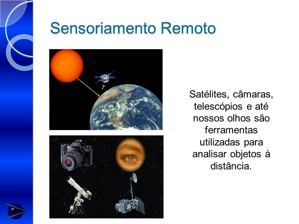 Sensoriamento Remoto Satélites, câmaras, telescópios e até nossos olhos são ferramentas utilizadas para analisar objetos à distância.
