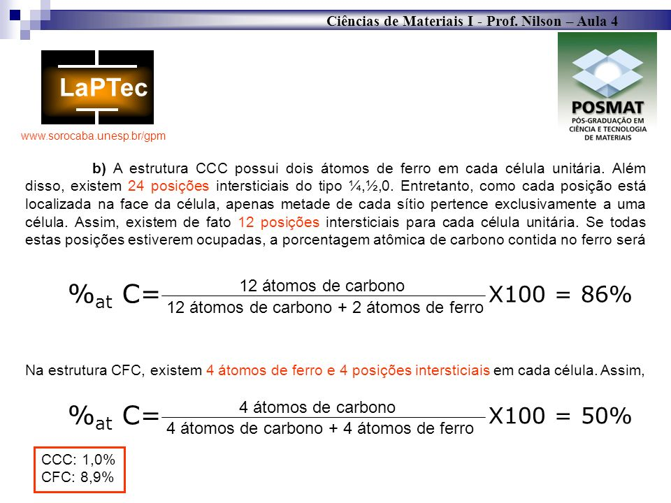 %at C= %at C= X100 = 86% X100 = 50% 12 átomos de carbono