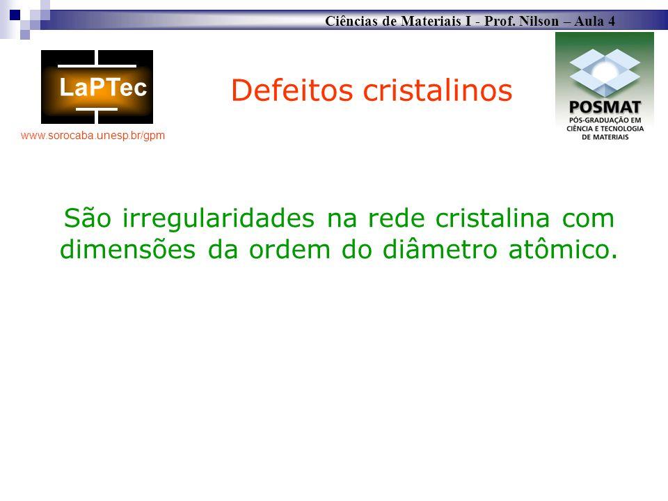 Defeitos cristalinosSão irregularidades na rede cristalina com dimensões da ordem do diâmetro atômico.