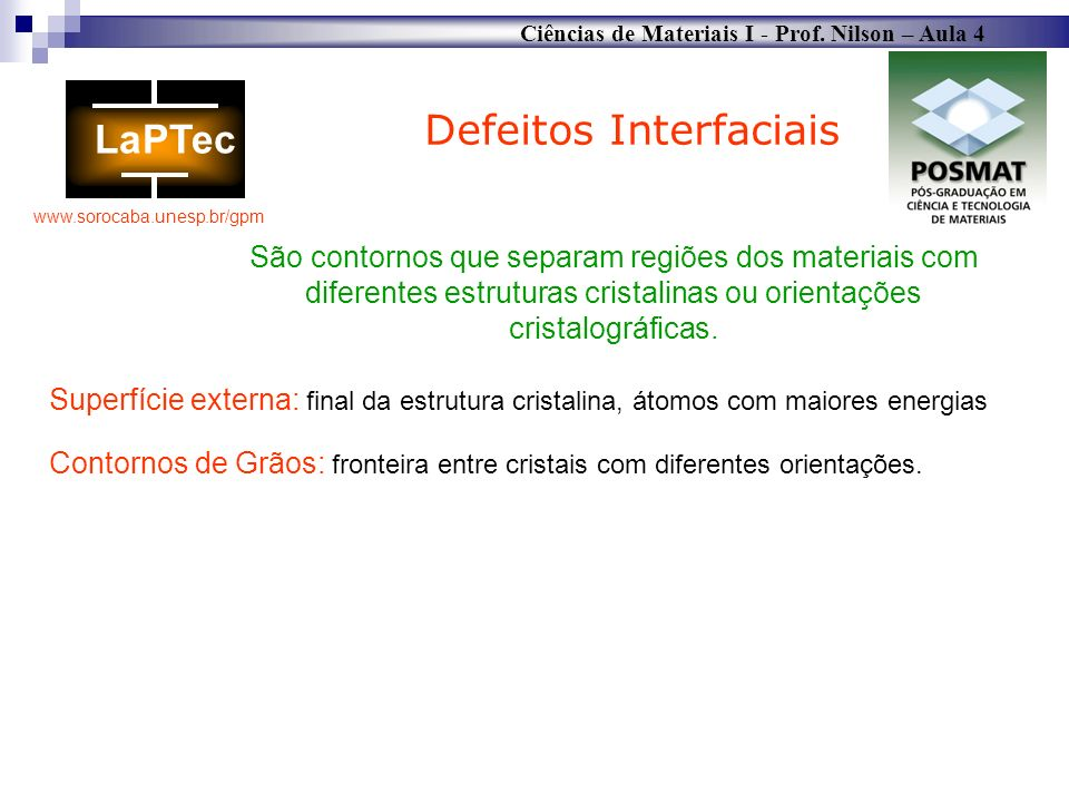 Defeitos Interfaciais