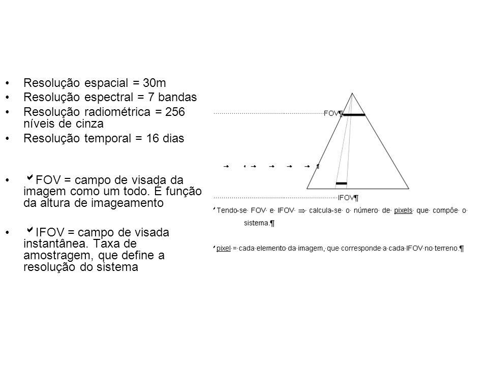Resolução espacial = 30m Resolução espectral = 7 bandas. Resolução radiométrica = 256 níveis de cinza.