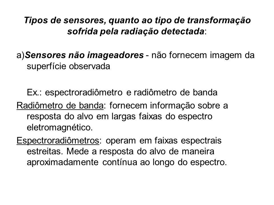 Tipos de sensores, quanto ao tipo de transformação sofrida pela radiação detectada: