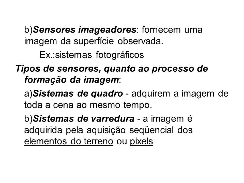 b)Sensores imageadores: fornecem uma imagem da superfície observada.