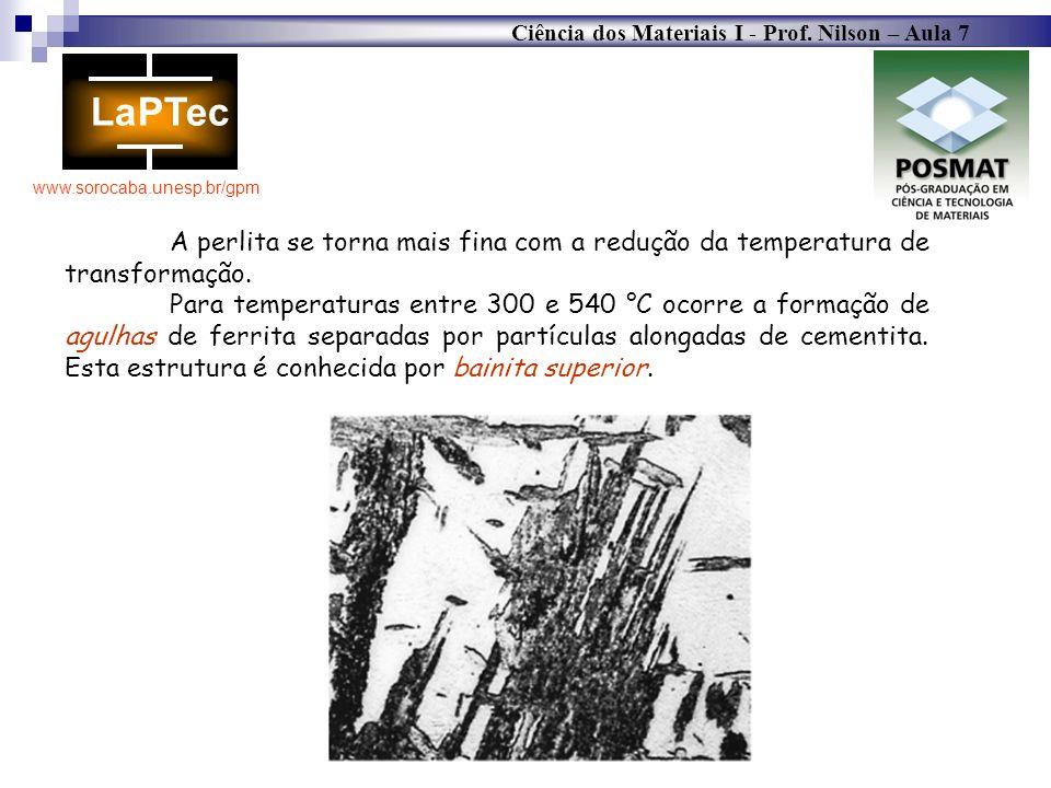 A perlita se torna mais fina com a redução da temperatura de transformação.