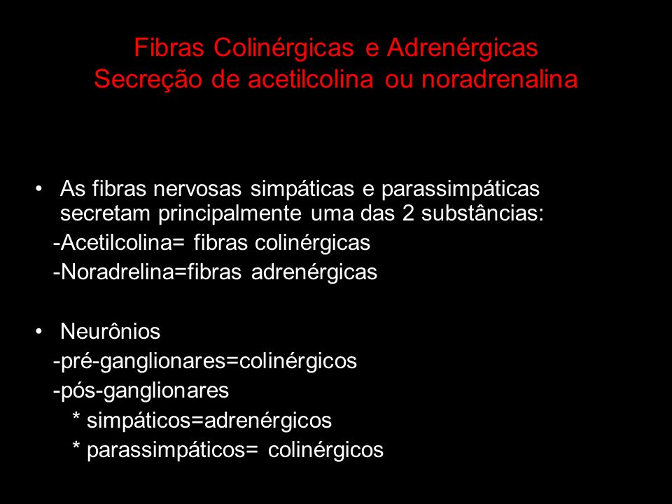 Fibras Colinérgicas e Adrenérgicas Secreção de acetilcolina ou noradrenalina