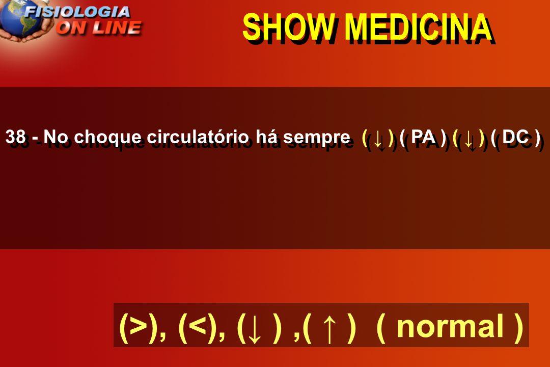 SHOW MEDICINA (>), (<), (↓ ) ,( ↑ ) ( normal )