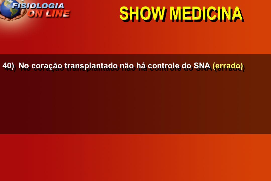 SHOW MEDICINA 40) No coração transplantado não há controle do SNA (errado)