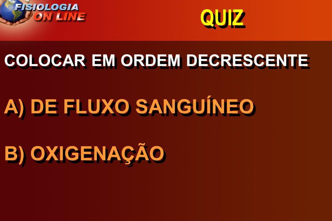 QUIZ COLOCAR EM ORDEM DECRESCENTE A) DE FLUXO SANGUÍNEO B) OXIGENAÇÃO