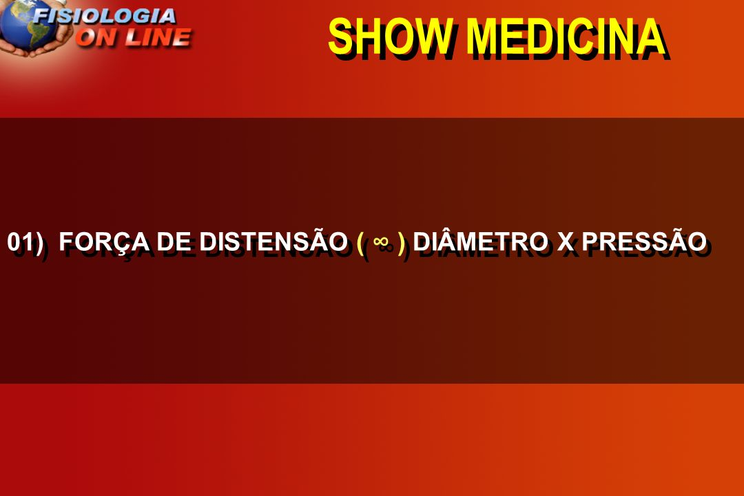 SHOW MEDICINA 01) FORÇA DE DISTENSÃO ( ∞ ) DIÂMETRO X PRESSÃO
