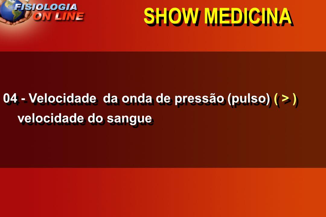 SHOW MEDICINA 04 - Velocidade da onda de pressão (pulso) ( > ) velocidade do sangue