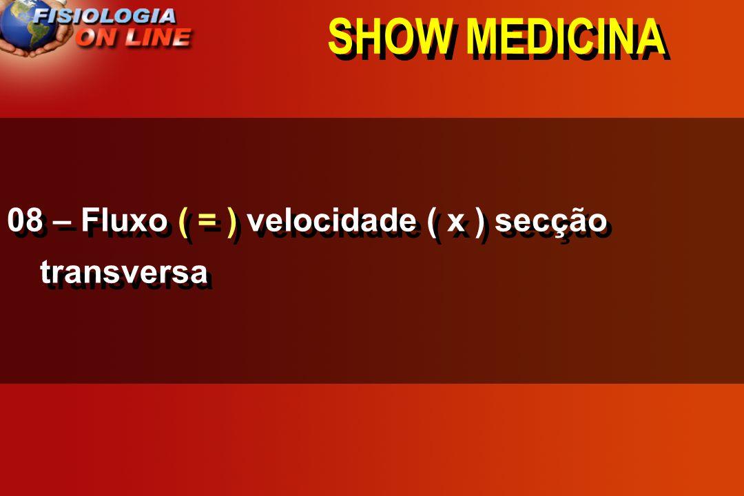 SHOW MEDICINA 08 – Fluxo ( = ) velocidade ( x ) secção transversa