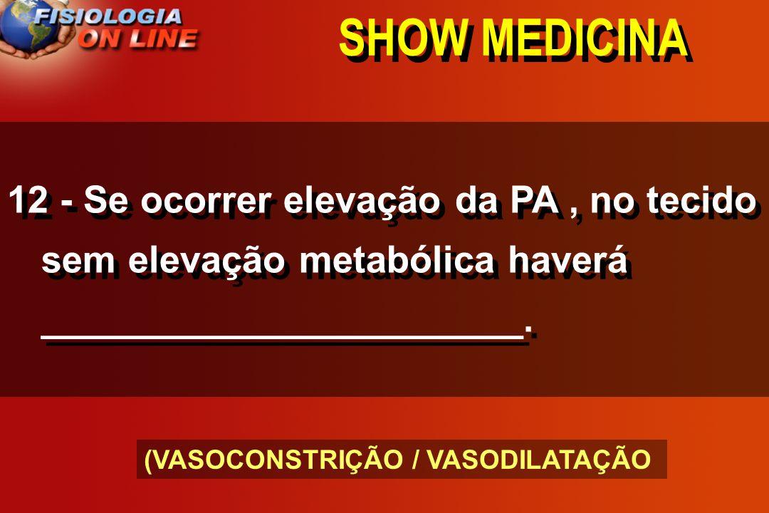 SHOW MEDICINA 12 - Se ocorrer elevação da PA , no tecido sem elevação metabólica haverá _______________________.