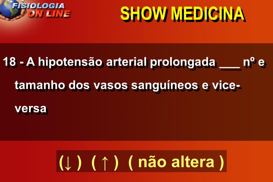 SHOW MEDICINA (↓ ) ( ↑ ) ( não altera )