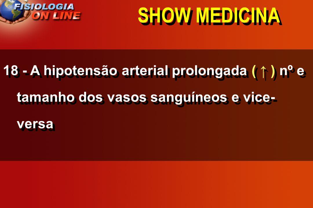 SHOW MEDICINA18 - A hipotensão arterial prolongada ( ↑ ) nº e tamanho dos vasos sanguíneos e vice-versa.