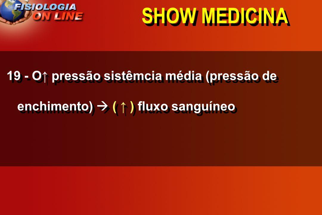 SHOW MEDICINA 19 - O↑ pressão sistêmcia média (pressão de enchimento)  ( ↑ ) fluxo sanguíneo