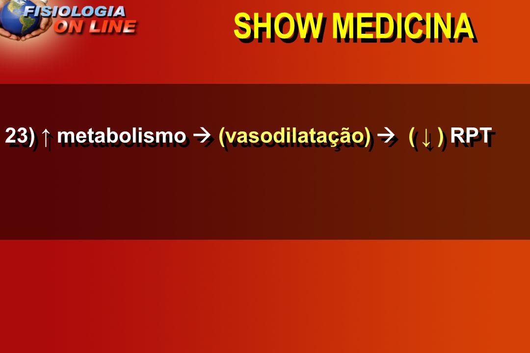SHOW MEDICINA 23) ↑ metabolismo  (vasodilatação)  ( ↓ ) RPT