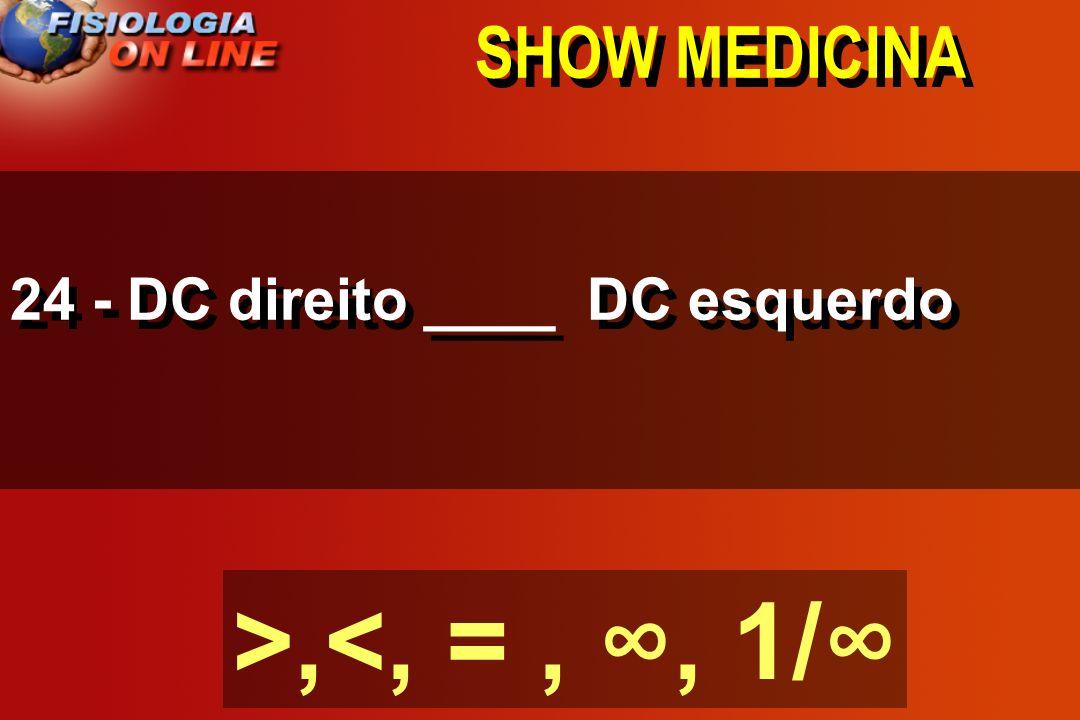 SHOW MEDICINA 24 - DC direito ____ DC esquerdo >,<, = , ∞, 1/∞