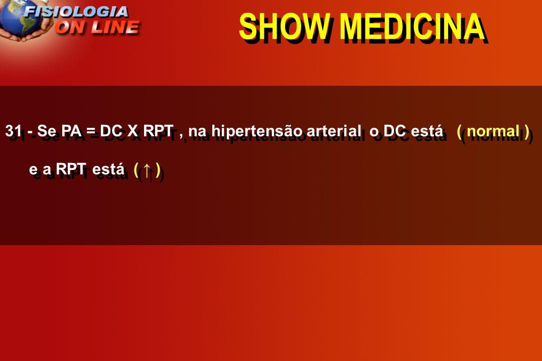 SHOW MEDICINA 31 - Se PA = DC X RPT , na hipertensão arterial o DC está ( normal ) e a RPT está ( ↑ )