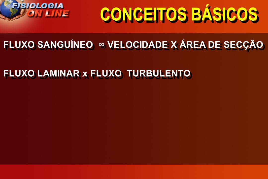 CONCEITOS BÁSICOS FLUXO SANGUÍNEO ∞ VELOCIDADE X ÁREA DE SECÇÃO