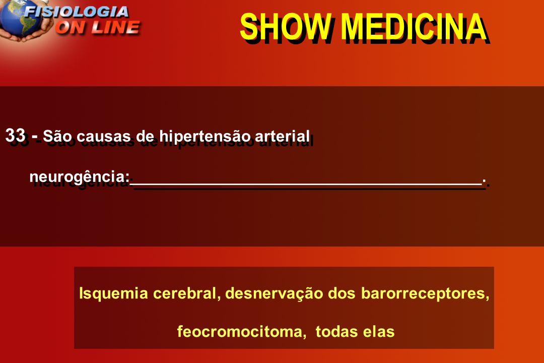 SHOW MEDICINA 33 - São causas de hipertensão arterial neurogência:_______________________________________.