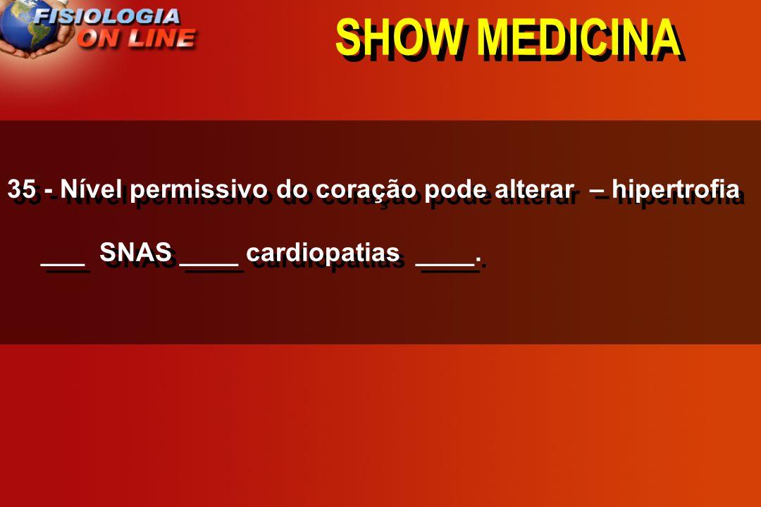 SHOW MEDICINA 35 - Nível permissivo do coração pode alterar – hipertrofia ___ SNAS ____ cardiopatias ____.