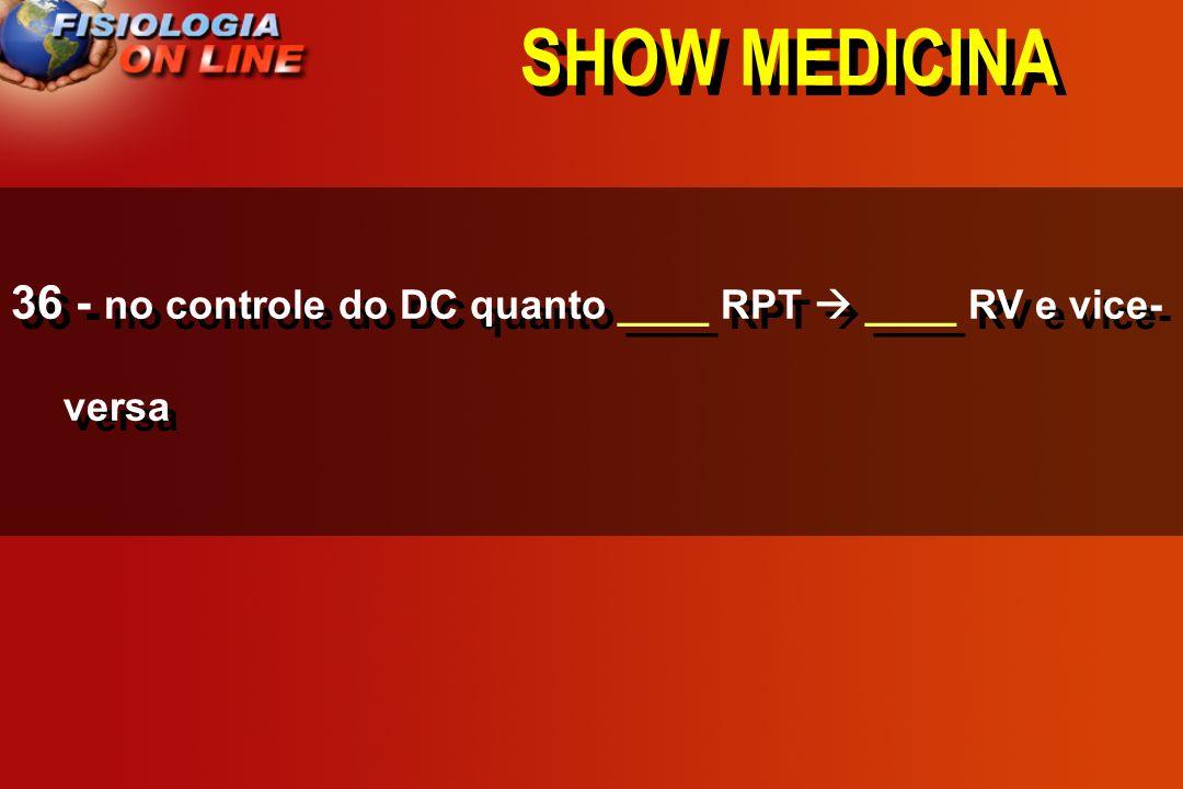 SHOW MEDICINA 36 - no controle do DC quanto ____ RPT  ____ RV e vice-versa